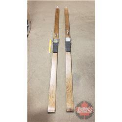"SkiRite Wooden Skiis (93-1/2""L)"