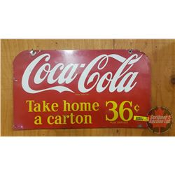"""Coca-Cola Rack Top Double Sided Tin Sign (9""""H x 15-3/4""""W)"""