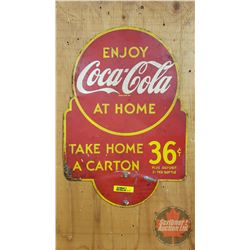 """Coca-Cola Rack Top Double Sided Tin Sign """"Take Home a Carton 36 Cents"""" (16""""H x 11""""W)"""