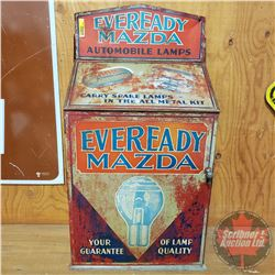 """Eveready Mazda Automobile Lamps"""" Metal Cabinet with Contents! (25""""H x 13-1/2""""W x 7-1/2""""D)"""