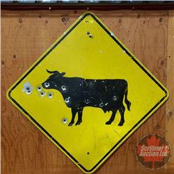 """Reflective Aluminum Road Sign (Cow) (24"""" x 24"""")"""