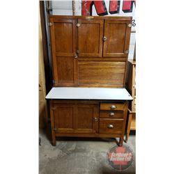 "Kitchen Aid ""Hoosier Style"" Cupboard (Two Piece) Roll Top Front - Slide Out Enamel Work Top"