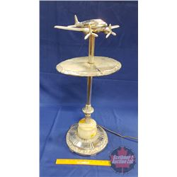 "Art Deco Airplane Light Up Side Table (28""H)"