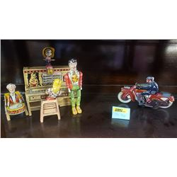 Tin Toys (2) Wind Up Motorcycle & Little Abner Piano Set