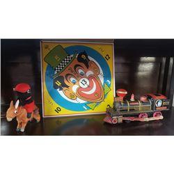 Vintage Toys (3): W& ARR Tin Train, Eagle Toys Ltd Sign Game & Wind Up Donkey Riding Bear