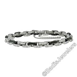 18kt White Gold 8.33 ctw Round White and Black Diamond Cable Link Bracelet