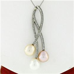 14kt White Gold 0.55 ctw Diamond & Tri-Color Pearl Tulip Flower Pendant Necklace
