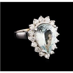 4.48 ctw Aquamarine and Diamond Ring - 14KT White Gold