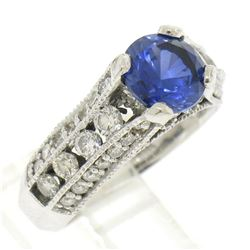 14k White Gold 2.50 ctw FINE Tanzanite Solitaire Round Diamond Open Milgrain Rin