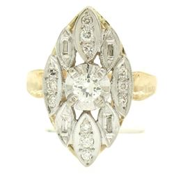 14k Two Tone Gold .55 ctw European Diamond Solitaire Ring