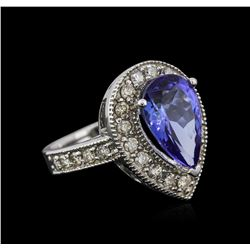 14KT White Gold 4.12 ctw Tanzanite and Diamond Ring