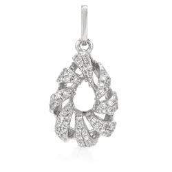 14k White Gold 0.20CTW Diamond Pendant, (SI1/G)