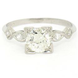 Antique Art Deco Platinum 1.30 ctw Old European Diamond Solitaire Engagement Rin