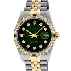 Rolex Mens 2 Tone Green Vignette VS Diamond 36MM Datejust Wristwatch