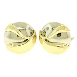 Italian 14K White & Yellow Gold Round Domed Textured Omega Button Earrings 13.9g