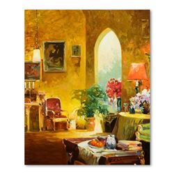 "Ming Feng, ""The Parlor"" Original Oil Painting on Canvas, Hand Signed with Letter"