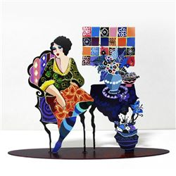 "Patricia Govezensky, ""Violet"" Hand Signed Original Painting on Cutout Steel; COA"