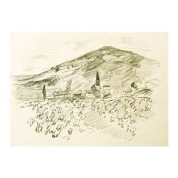 "Wayne Ensrud ""Julienas in Beaujolais, France"" Pencil Original Artwork; Hand Sign"
