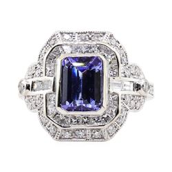 1.99 ctw Tanzanite and Diamond Ring - Platinum