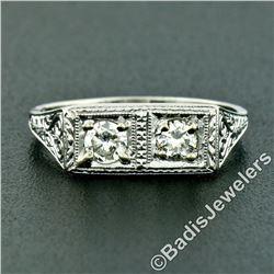 Vintage Platinum 0.52 ctw Dual Transitional Cut Diamond Hand Engraved Band Ring