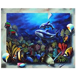"""Ferjo, """"Orca's Home"""" Original Painting on Canvas, Hand Signed with Letter of Aut"""