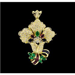 3.37 ctw Ruby, Emerald, Sapphire and Diamond Pendant-Pin - 18KT Yellow Gold