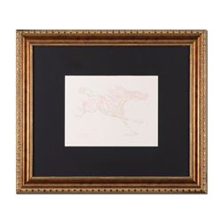 "Guillaume Azoulay, ""Etude AZE"" Framed Original Drawing, Hand Signed with Letter"