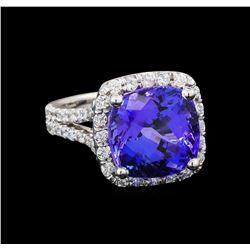 GIA Cert 9.06 ctw Tanzanite and Diamond Ring - 14KT White Gold