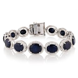 36.08 ctw Blue Sapphire and 3.35 ctw Diamond 14K White Gold Bracelet