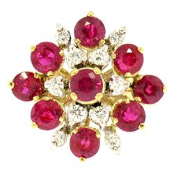 Designer 14k Two Tone Gold 2.60 ctw Vivid Blood Ruby & Diamond Cocktail Ring