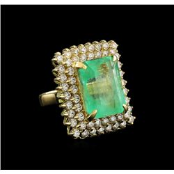 GIA Cert 19.72 ctw Emerald and Diamond Ring - 14KT Yellow Gold