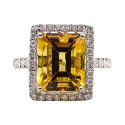6.25 ctw Citrine and Diamond Ring - 14KT White Gold
