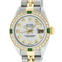 Rolex Ladies 2 Tone Silver Diamond & Emerald 26MM Oyster Perpetual Datejust