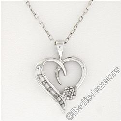 10kt White Gold Pave Set Single Cut Diamond Open Heart Flower Cluster Pendant Ne