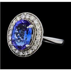 4.18 ctw Tanzanite and Diamond Ring - 14KT White Gold