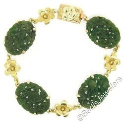 Vintage 14kt Yellow Gold Carved Oval Jade Bird and Etched Flower Link Bracelet