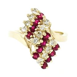 Estate 14kt Yellow Gold 1.44 ctw Diamond & Ruby Cocktail Ring