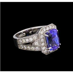 4.25 ctw Tanzanite and Diamond Ring - 14KT White Gold