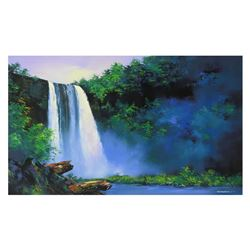 """Thomas Leung, """"Wailua Falls"""" Hand Embellished Limited Edition on Canvas, Numbere"""