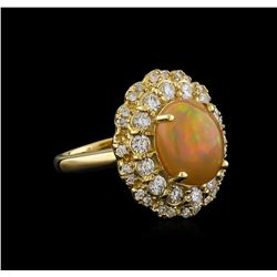 2.75 ctw Opal and Diamond Ring - 14KT Yellow Gold