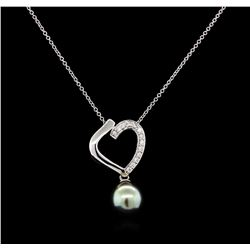 0.19 ctw Pearl and Diamond Pendant - 14KT White Gold