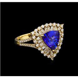 14KT Yellow Gold 2.86 ctw Tanzanite and Diamond Ring