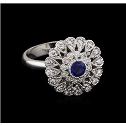 0.44 ctw Blue Sapphire and Diamond Ring - 14KT White Gold