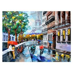 "Yana Rafael, ""Paris Bike Ride"" Hand Signed Original Painting on Canvas with COA."