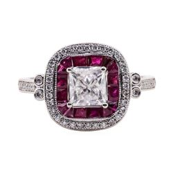 1.22 ctw Diamond and Ruby Ring - Platinum