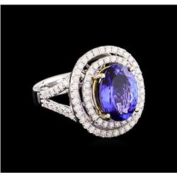 14KT Two-Tone 4.50 ctw Tanzanite and Diamond Ring