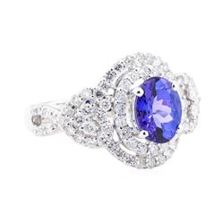 2.87 ctw Tanzanite And Diamond Ring - 18KT White Gold