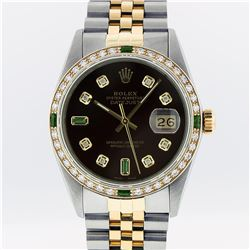 Rolex Mens 2 Tone Brown Diamond & Emerald Oyster Perpetual Datejust Wristwatch