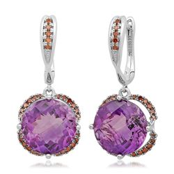 14k White Gold  6.84CTW Red Cognac Dia and Amethyst Earrings
