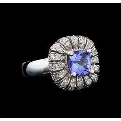 14KT White Gold 1.52 ctw Tanzanite and Diamond Ring
